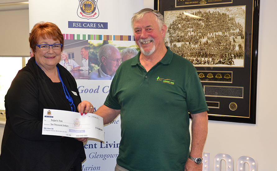 RSL Care SA cheque presentation to Trojans Trek